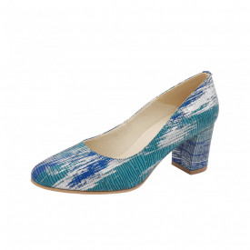 Pantofi dama, SandAli, piele naturala, toc gros, argint, turcoaz, albastru