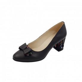 Pantofi dama, SandAli, piele naturala, toc gros imbracat, funda, negru cu patratele colorate