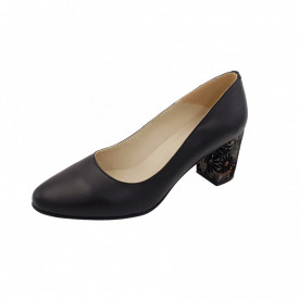 Pantofi dama, SandAli, piele naturala, toc gros imbracat, negru f.