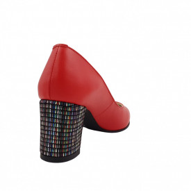 Pantofi dama, SandAli, piele naturala, toc gros imbracat, rosu cu linii colorate