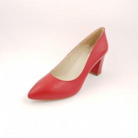 Pantofi dama, SandAli, stiletto, piele naturala, toc gros, rosu