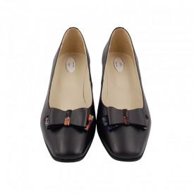 Pantofi dama, SandAli, varf patrat, piele naturala, toc gros imbracat, funda, negru pa.c.