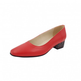 Pantofi dama, SandAli, varf patrat, piele naturala, toc mic gros imbracat, rosu cu linii colorate