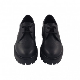 Pantofi oxford dama, SandAli, piele natura bizon, talpa usoara, crampoane mari, negru