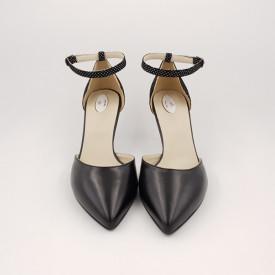 Pantofi sanda dama, piele naturala, toc cui, imbracat, negru cu buline albe
