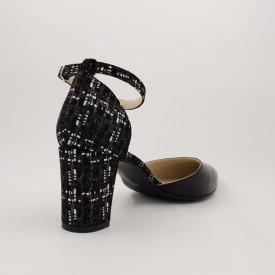 Pantofi sanda dama, piele naturala, toc gros, imbracat, negru cu carouri maro, alb