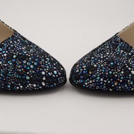 Sandale dama, piele naturala, toc gros, imbracat, flori albastre