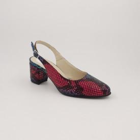 Sandale dama, piele naturala, toc gros, imbracat, sarpe colorat