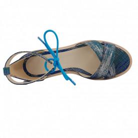 Sandale dama, SandAli, piele naturala, doua barete incrucisate, sireturi colorate, talpa usoara, crampoane, imprimeu argint turcoaz si albastru