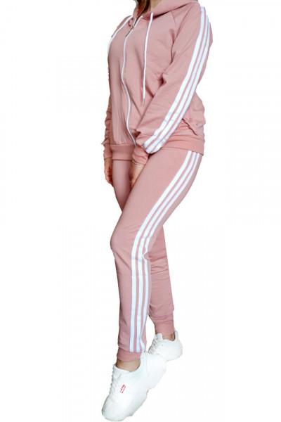 Trening dama, sport, doua piese, Roz cu dungi albe