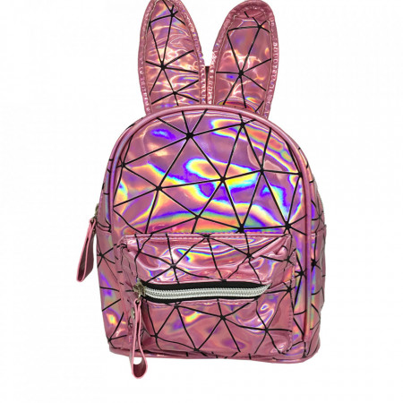 Rucsac, Pink, Holografic, Piele Ecologica