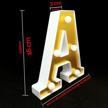 Litera volumetrica luminoasa, LED, din plastic, cu baterii, F