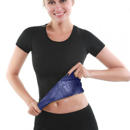 Tricou fitness, doua straturi, slim- Black