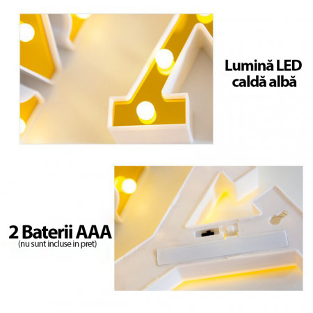Litera volumetrica luminoasa, LED, din plastic, cu baterii, U