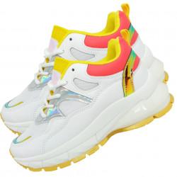 Adidasi sport, dama, Holo, cu insertii de plasa, alb