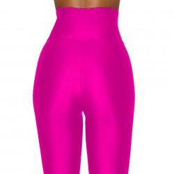 Colanti luciosi, lycra, modelatori trei sferturi, talie inalta, Pink