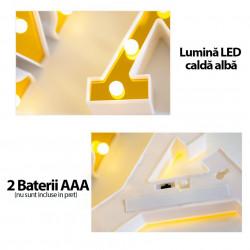 Set 4 Litere decorative luminoase, LED, din plastic, cu baterii, HOME
