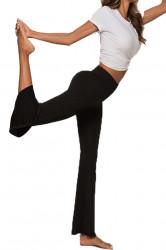 Colanti evazati de Yoga, talie inalta, Black