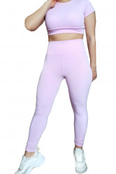 Compleu fitness, dama, stil raiat, doua piese, Roz