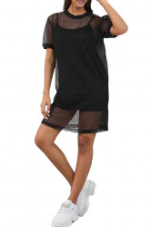 Rochie de plasa, doua piese, neagra, mini