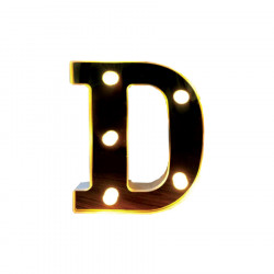 Litera volumetrica luminoasa, LED, din plastic, cu baterii, D