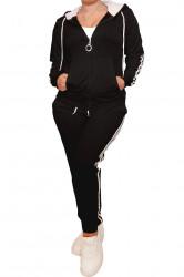 Trening dama, sport, cu dungi albe, doua piese, Negru vatuit