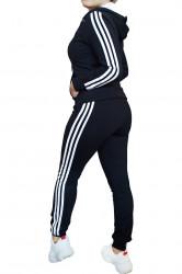 Trening dama, sport, doua piese, Negru cu dungi albe