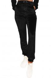 Pantaloni trening, dama, catifea, Black, imprimeu