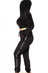 Trening catifea, dama, doua piese, Black, imprimeu pantaloni