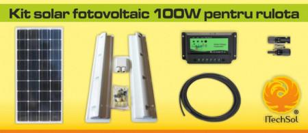 Kit solar fotovoltaic 100W pentru rulota