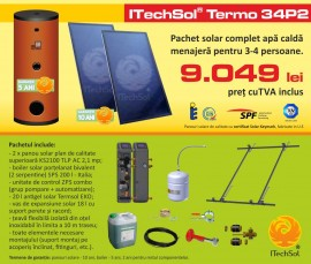 Pachet solar (kit) complet apa calda menajera pentru 3-4 persoane, 200 litri (ITechSol® Termo 34P2)