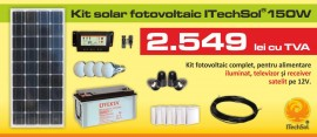 Kit (sistem) Solar Fotovoltaic Itechsol® 150w Pentru Iluminat Si Alimentare Tv  Receiver Satelit Pe 12v