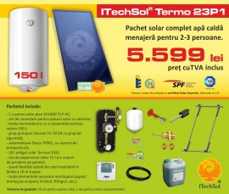 Pachet solar (kit) complet pentru apa calda menajera pentru 2-3 persoane, 150 litri (ITechSol® Termo 23P1)