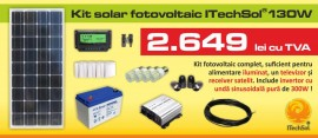 Kit (sistem) solar fotovoltaic ITechSol® 150W pentru iluminat 12V si invertor pentru alimentare TV si receiver satelit