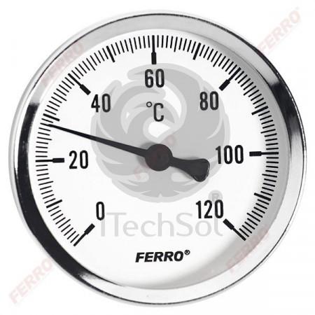 "Termometru axial ½"", 80 mm, 0-120˚C galvanizat"