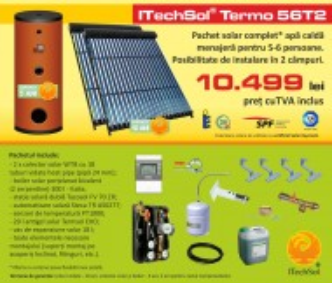Pachet solar (kit) complet apa calda menajera pentru 5-6 persoane (ITechSol® Termo 56T2)