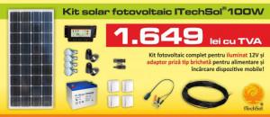 Kit (sistem) solar fotovoltaic ITechSol® 100W pentru iluminat 12V