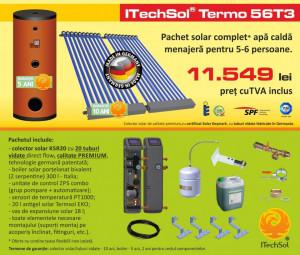 Pachet solar (kit) complet apa calda menajera pentru 5-6 persoane - calitate PREMIUM (ITechSol® Termo 56T3)