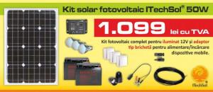 Kit (sistem) solar fotovoltaic ITechSol® 50W pentru iluminat 12V