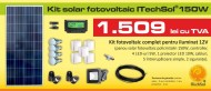 Kit (sistem) solar fotovoltaic ITechSol® 150W pentru iluminat 12V (fara acumulator)
