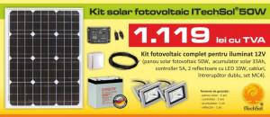 Kit (sistem) solar fotovoltaic ITechSol® 50W pentru iluminat 12V ITS1
