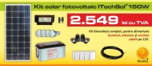 Kit (sistem) solar fotovoltaic ITechSol® 150W pentru iluminat si alimentare TV, receiver satelit pe 12V