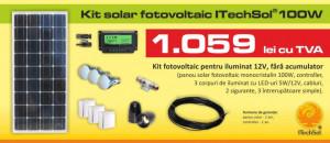 Kit (sistem) solar fotovoltaic ITechSol® 100W pentru iluminat 12V (fara acumulator)