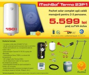 Pachet solar (kit) complet Casa Verde pentru apa calda menajera pentru 2-3 persoane, 150 litri (ITechSol® Termo 23P1)