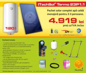 Pachet solar (kit) complet pentru apa calda menajera pentru 2-3 persoane, 120 litri (ITechSol® Termo 23P1.1)