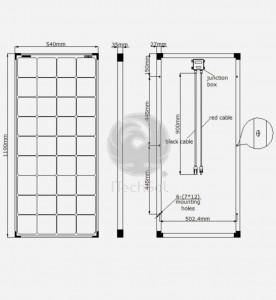 Panou solar fotovoltaic monocristalin 100W | 12V design negru complet
