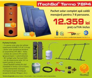 Pachet solar (kit) complet apa calda menajera pentru 7-8 persoane, 400 litri (ITechSol® Termo 78P4)