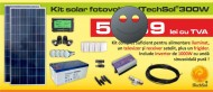 Kit (sistem) solar fotovoltaic ITechSol® 300W, pentru iluminat 12V si invertor 1000W pentru alimentare TV, receiver satelit si frigider