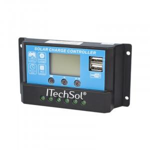 Controller solar (încărcător, automatizare) fotovoltaic PWM 10A cu LCD si 2 x USB