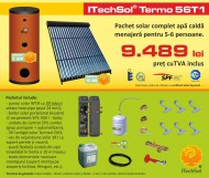 Pachet solar (kit) complet apa calda menajera pentru 5-6 persoane (ITechSol® Termo 56T1)